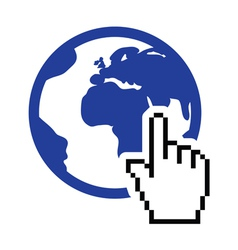 Globe earth with cursor hand icon vector image