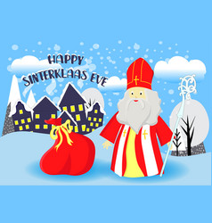 Greeting card for st nicholas day translation vector