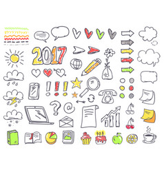 Hand drawn small minimalistic pictures on paper vector