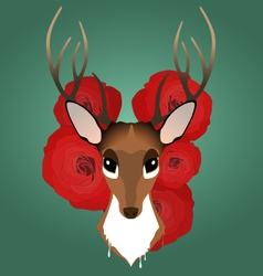 Hipster style deer and roses vector