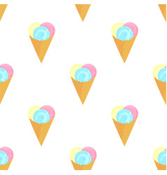 ice cream balls in a waffle cone seamless pattern vector image