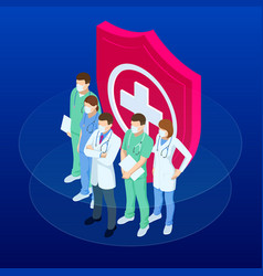 Isometric doctors and nurses in a medical mask vector