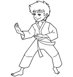 Karate stance boy line art vector