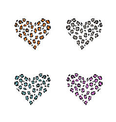 leopard print skin in the shape of a heart vector image