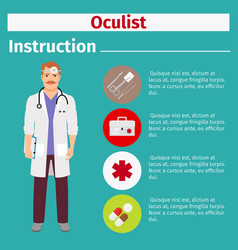 Medical equipment instruction for oculist vector
