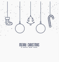 merry christmas elements decoration in line art vector image