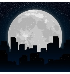 Moon Background silhouette of the city at night vector
