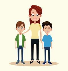 mother with two boys relation vector image