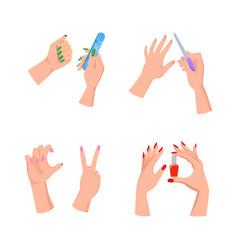 Nail service hands and tools vector