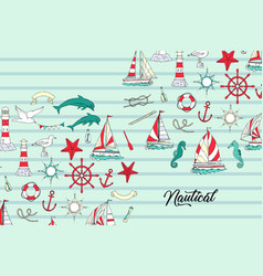 nautical background with ships and wheel vector image