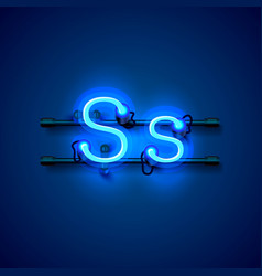 neon font letter s art design singboard vector image