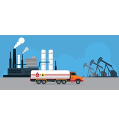 Oil Tank Truck Side View and Refinery vector