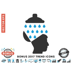 Open Brain Shower Flat Icon With 2017 Bonus Trend vector