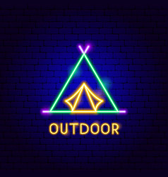 Outdoor neon label vector