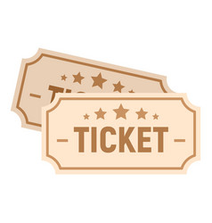 paper cinema ticket icon flat style vector image