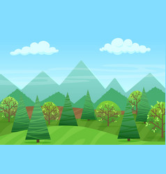 peaceful green landscape with mountains and vector image