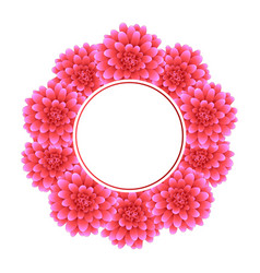 pink dahlia banner wreath style 2 vector image
