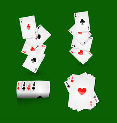 play cards combinations with aces on green field vector image