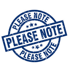Please note blue round grunge stamp vector