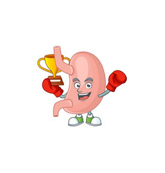 Proudly face boxing winner stomach presented vector