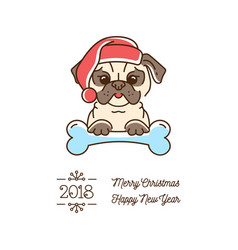 pug christmas year of the dog 2018 cute cartoon vector image