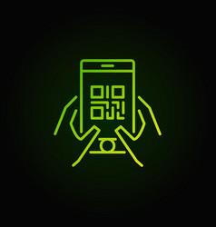 Qr code in smartphone green icon or symbol vector
