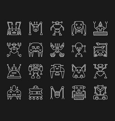 Robot simple white line icons set vector