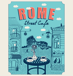 roman street cafe with a view colosseum vector image
