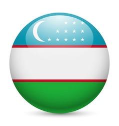 Round glossy icon of uzbekistan vector image
