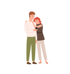 sad couple use smartphone together flat vector image