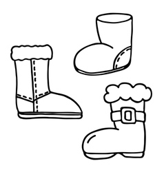 Santa boot icons set vector