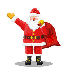 santa with gift bag waving hands vector image