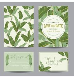 Save date card tropical banana leaves wedding vector