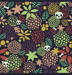 Seamless background with cute skulls and floral vector