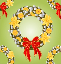 Seamless texture wreath with pussy willow vector image