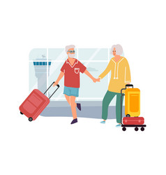 senior couple in airport elderly man and woman vector image