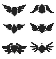 set emblems with wings design element for logo vector image