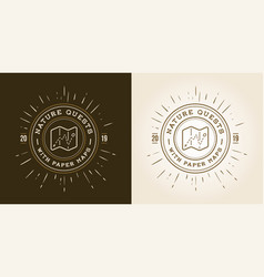 set of hiking trail logo design with typography vector image