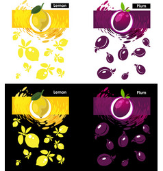 set template lemon and plum fruit vector image