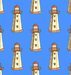 Sketch cute lighthouse in vintage style vector image