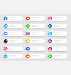Social media network banners lower third icons set vector