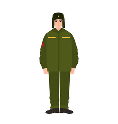 Soldier of russian armed force wearing army winter vector