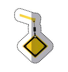 Sticker crane hook holding a yellow diamond vector