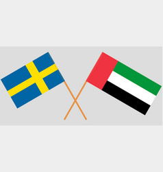 Sweden and united arab emirates flags vector