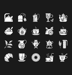 tea white silhouette icons set vector image