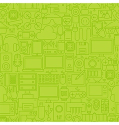 Thin Green Gadgets and Devices Line Seamless vector