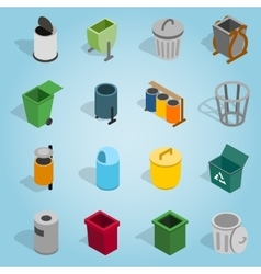 Trash bin set icons isometric 3d style vector