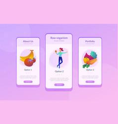 Vegan raw food app interface template vector