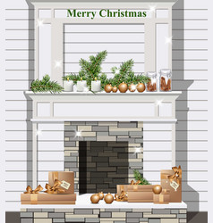 white fireplace with christmas decor vector image