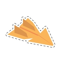 yellow paper plane flying model cut line vector image